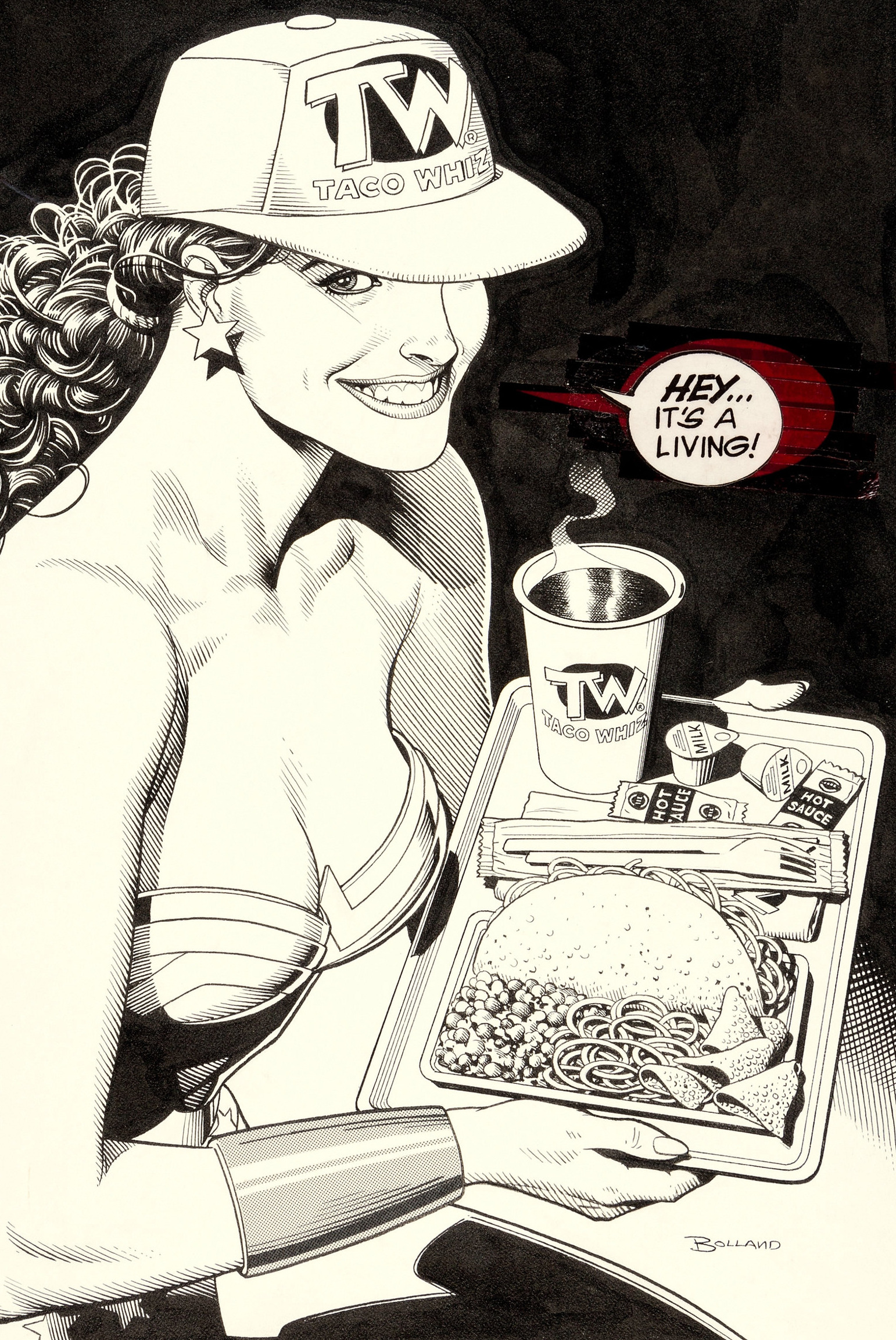 Original cover art by Brian Bolland from Wonder Woman #73, 1993