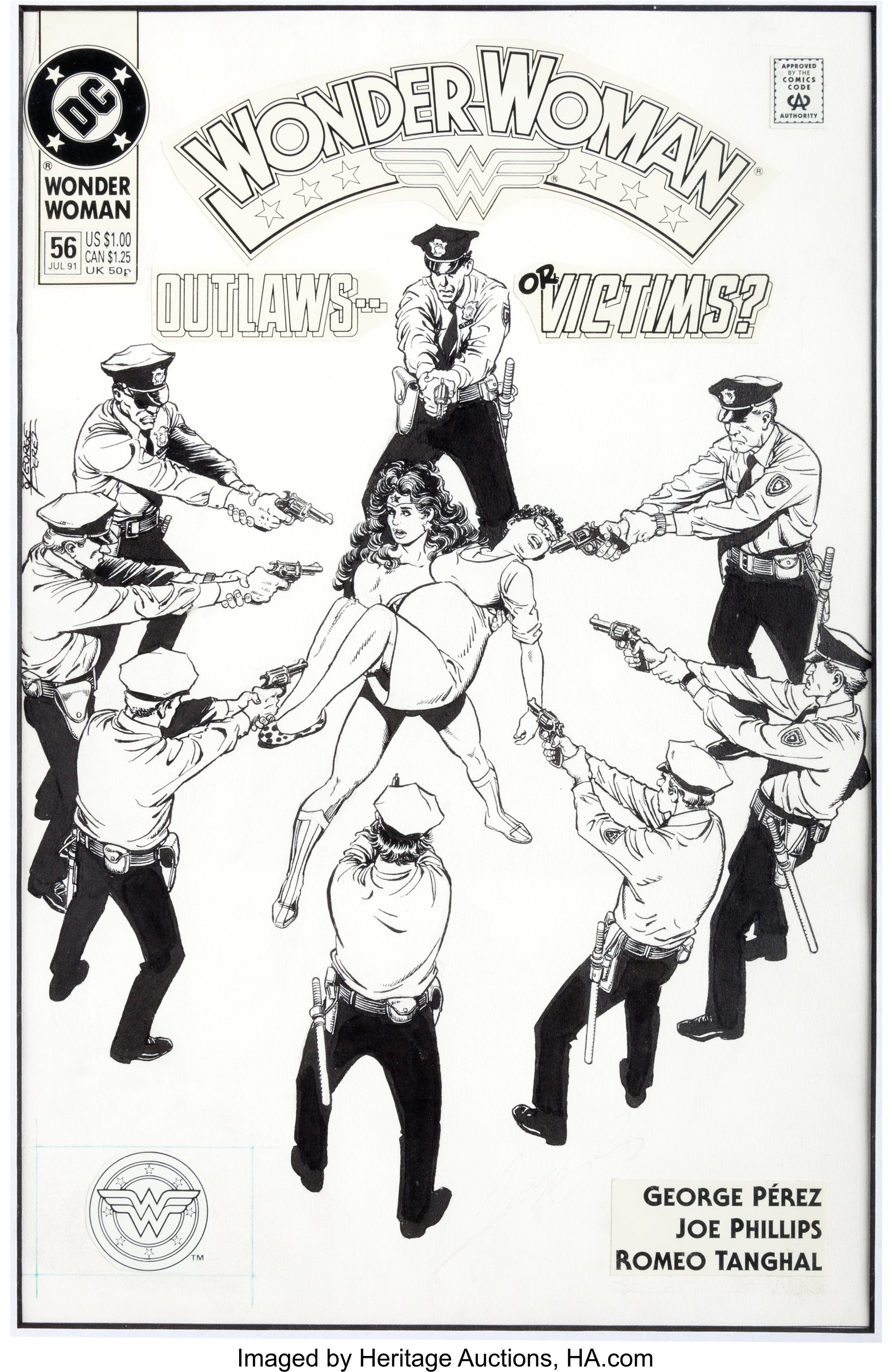 Original cover art by George Perez from Wonder Woman #56, 1991