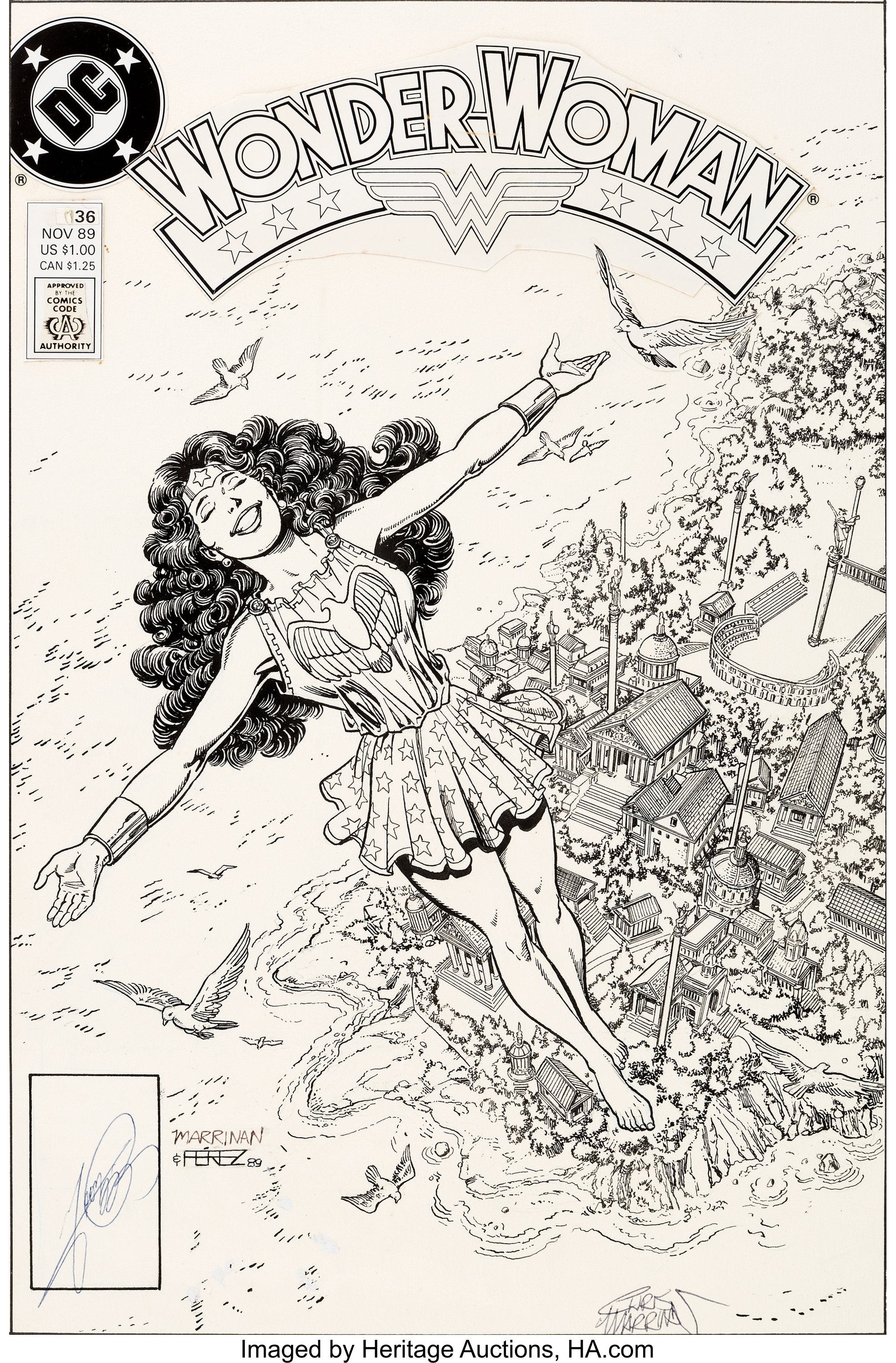 Original cover art by George Perez from Wonder Woman #36, 1989
