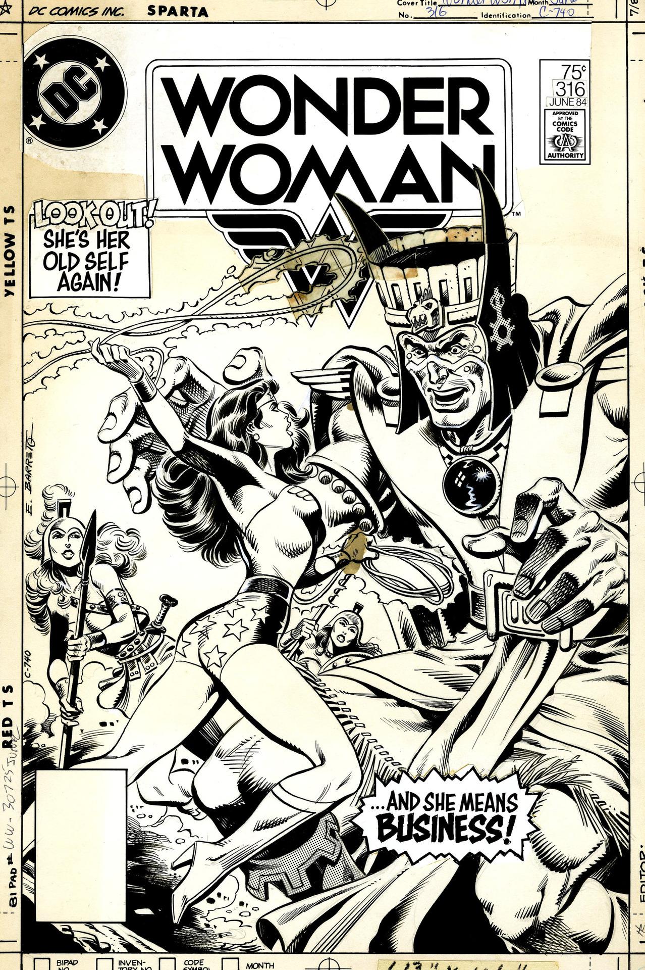 Original cover by Eduardo Barreto, Wonder Woman #316, 1984