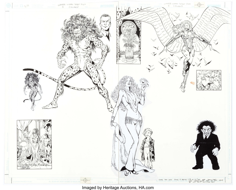 Wonder Woman Secret Files #3 (villains) Original Double Splash Page by Phil Jimenez