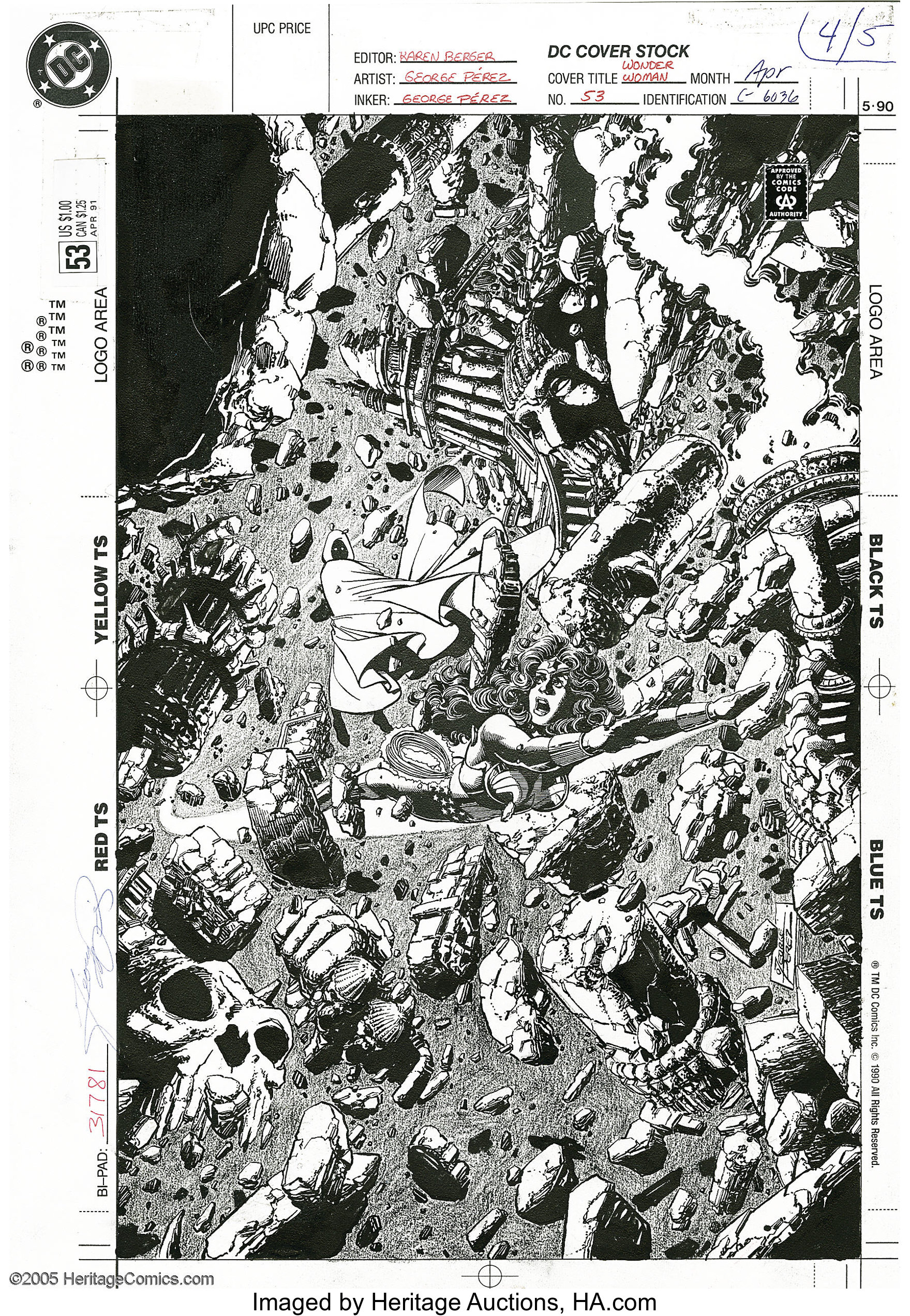 Original cover art by George Perez from Wonder Woman #53, 1991