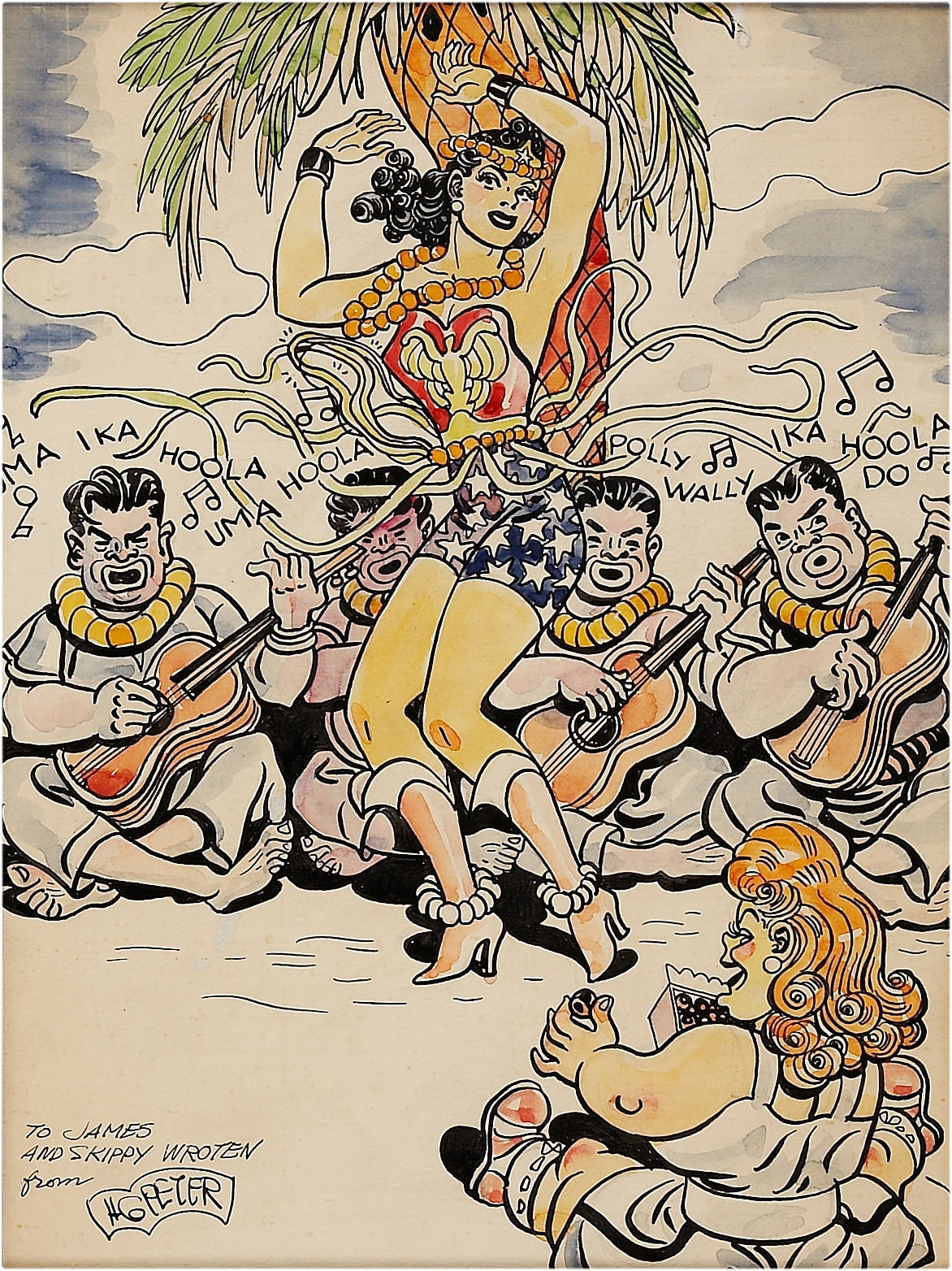 Wonder Woman Goes Hawaiian, Given by H.G Peter to James And Skippy Wroten