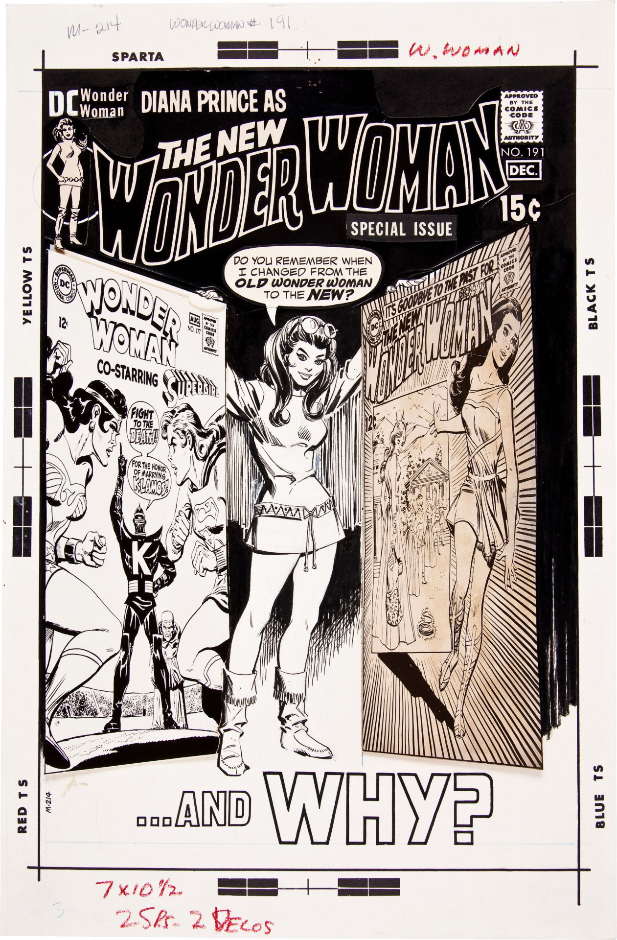 Original cover art by Mike Sekowsky (pencils) and Dick Giordano (inks) from Wonder Woman #191, November 1970