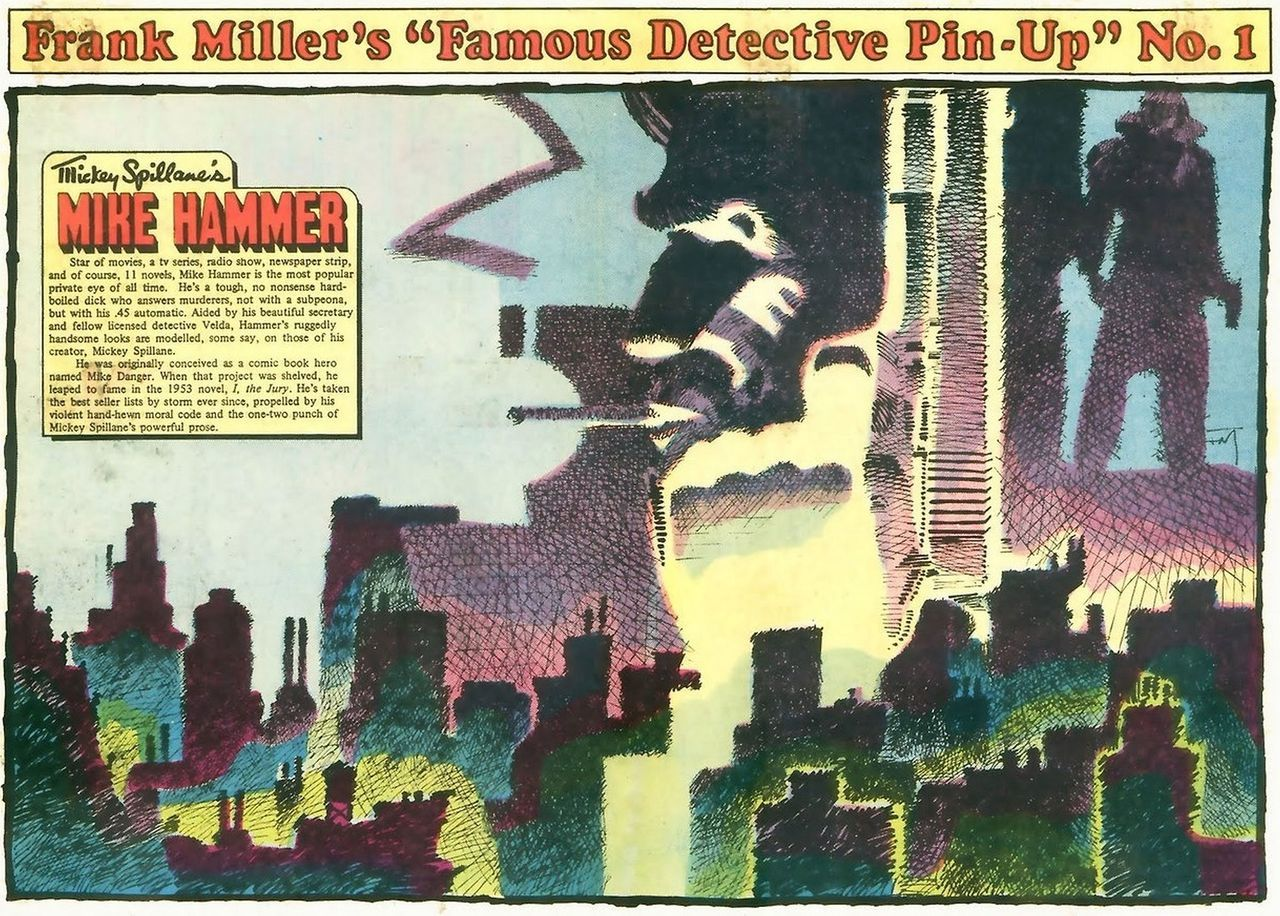 """Frank Miller's """"Famous Detective Pin-Up"""" portfolio was published as PinUps at the back of Renegade Press's """"Ms. Tree Thrilling Detective Adventures"""", #s 1-4, back in 1983."""