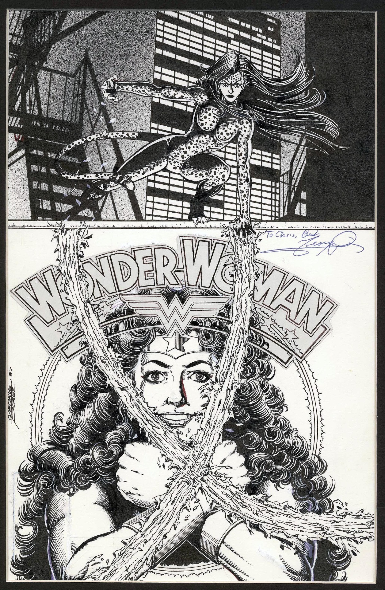 Original cover art by George Perez from Wonder Woman #9, 1987