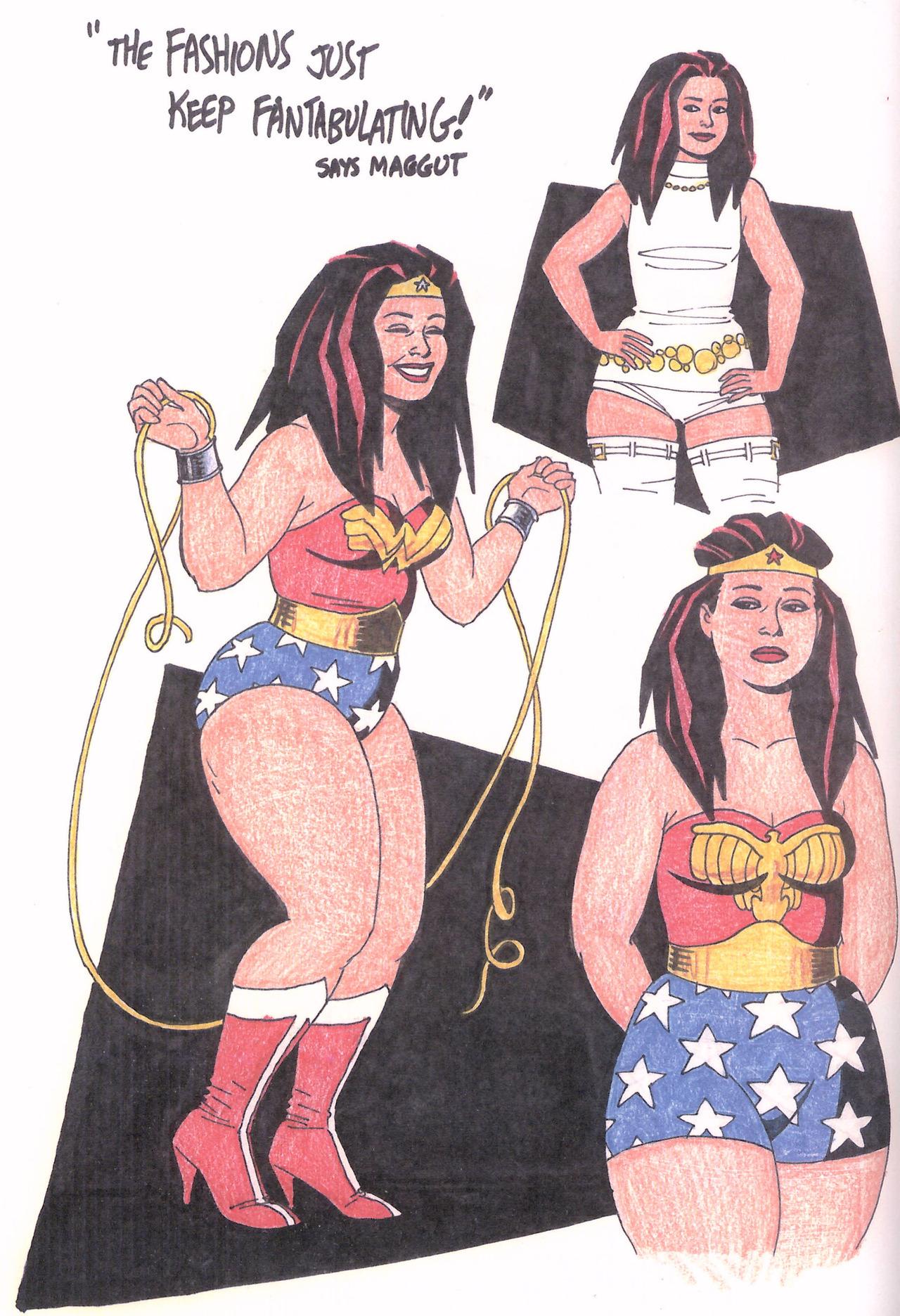 Jaime Hernandez drawings of Maggie as Wonder Woman