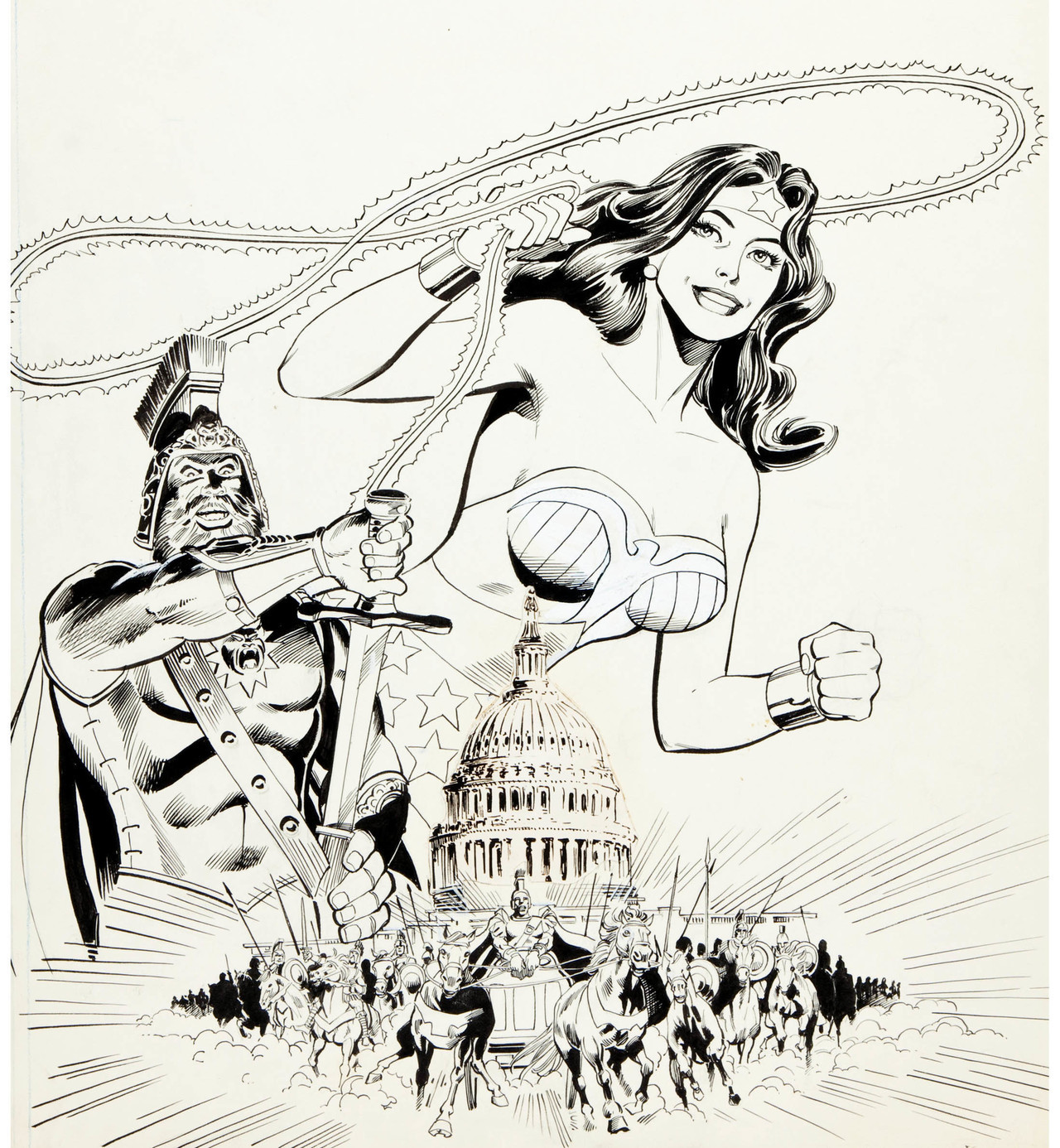 Original cover art by Dick Giordano from the Wonder Woman, Invaders from Mars coloring book, 1980.