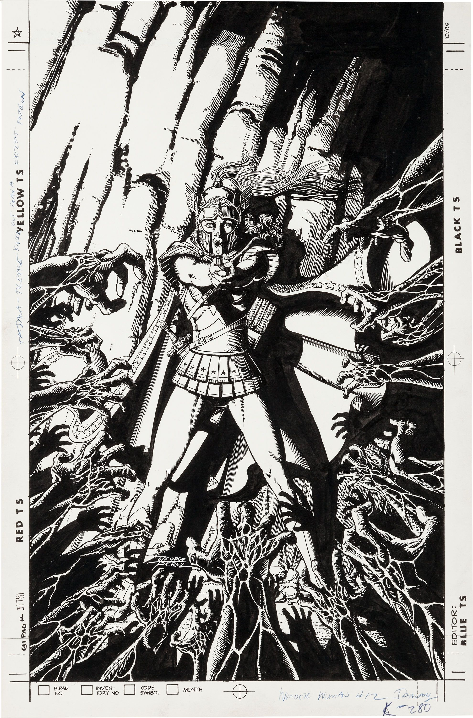 Original cover art by George Perez from Wonder Woman #12, 1988