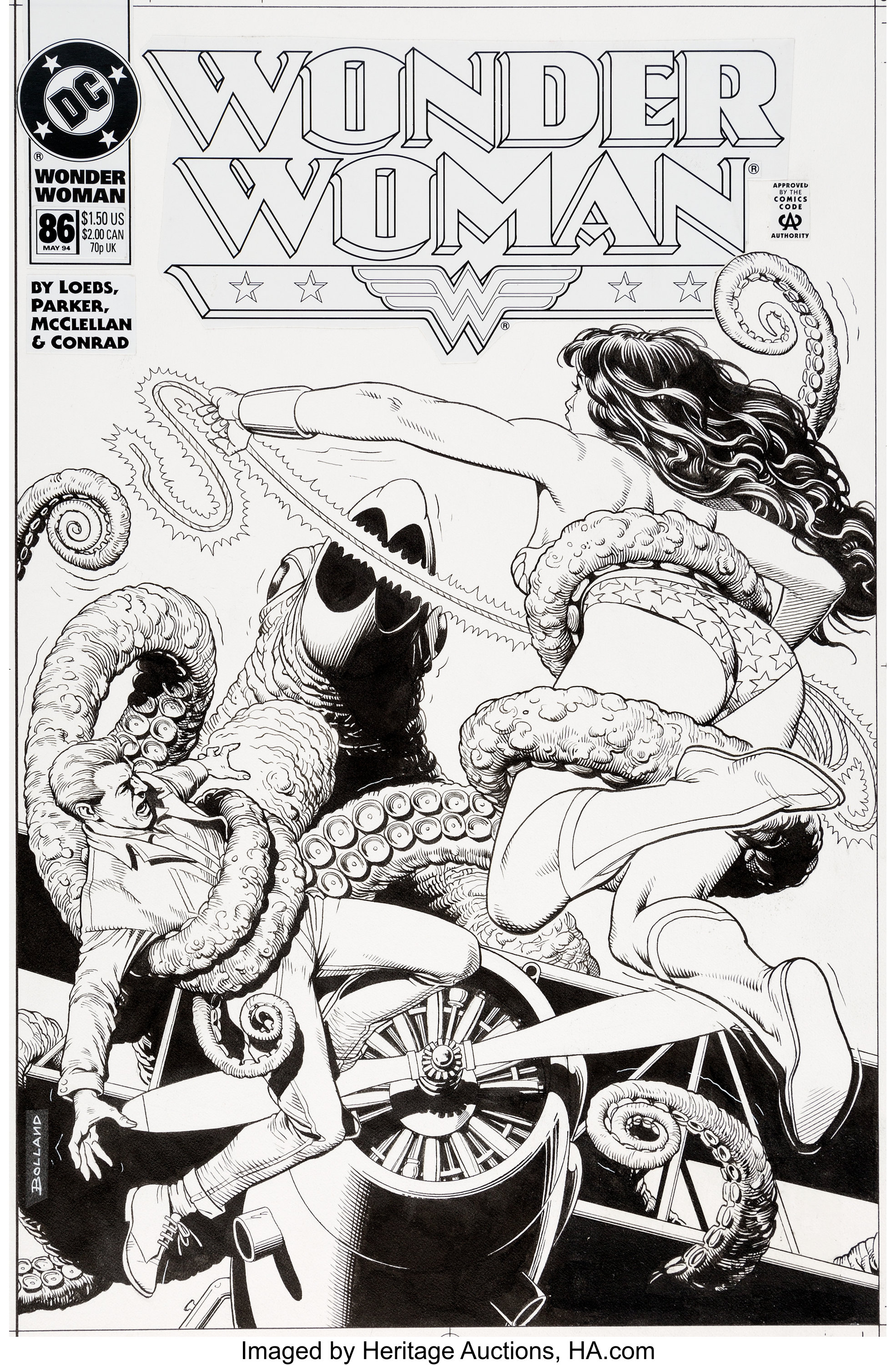 Original cover art by Brian Bolland from Wonder Woman #86, 1994