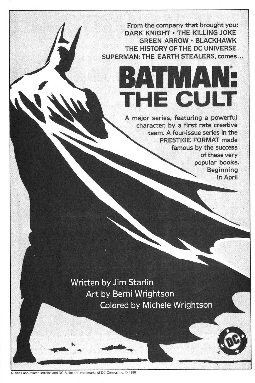 1988 - Batman the Cult ad AH141