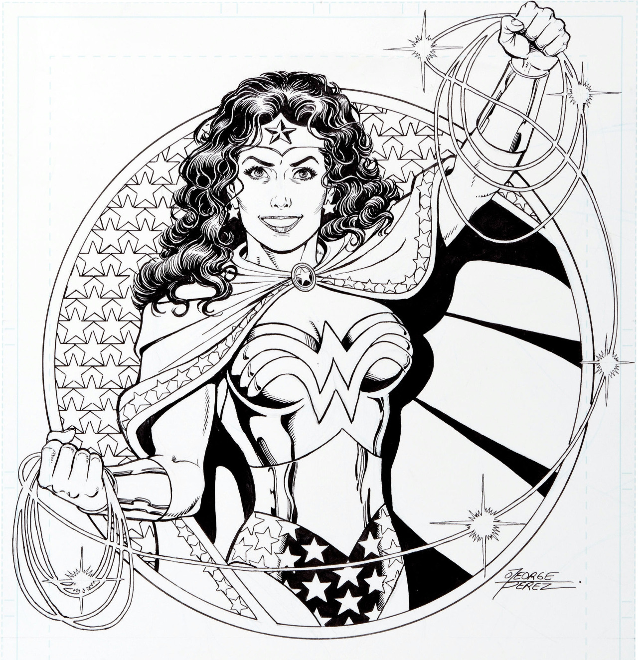 Illustration by George Perez, cover of the Overstreet Comic Book Price Guide #36, 2006
