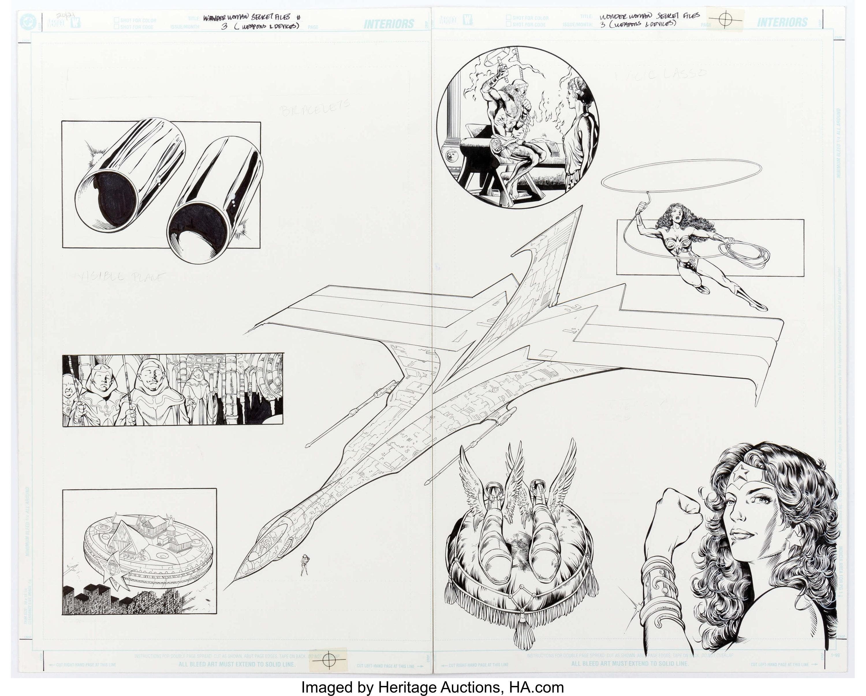 Wonder Woman Secret Files #3 (weapons & devices) Original Double Splash Page by Phil Jimenez