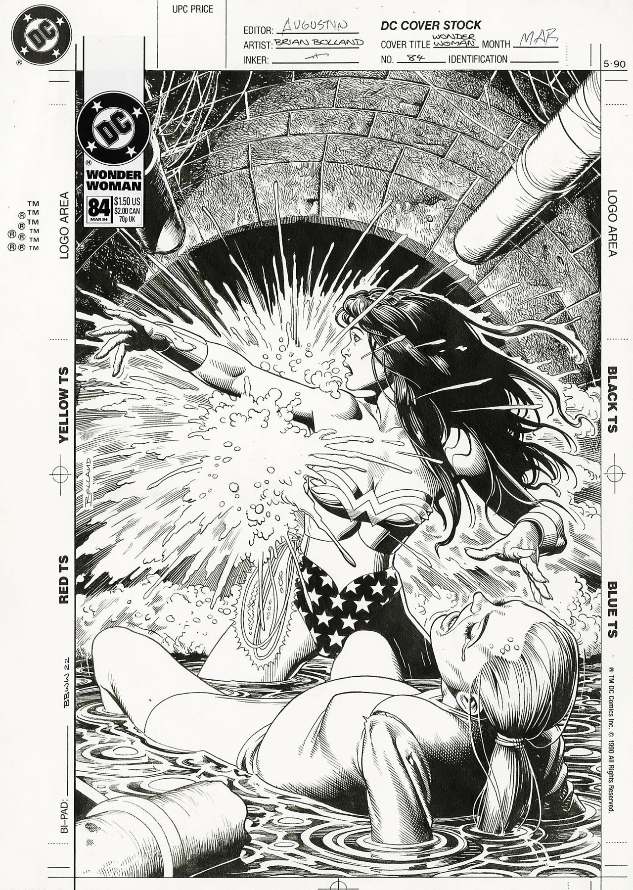 Original pencils, inked, and final cover art by Brian Bolland from Wonder Woman v2 #84, 1994 - 1