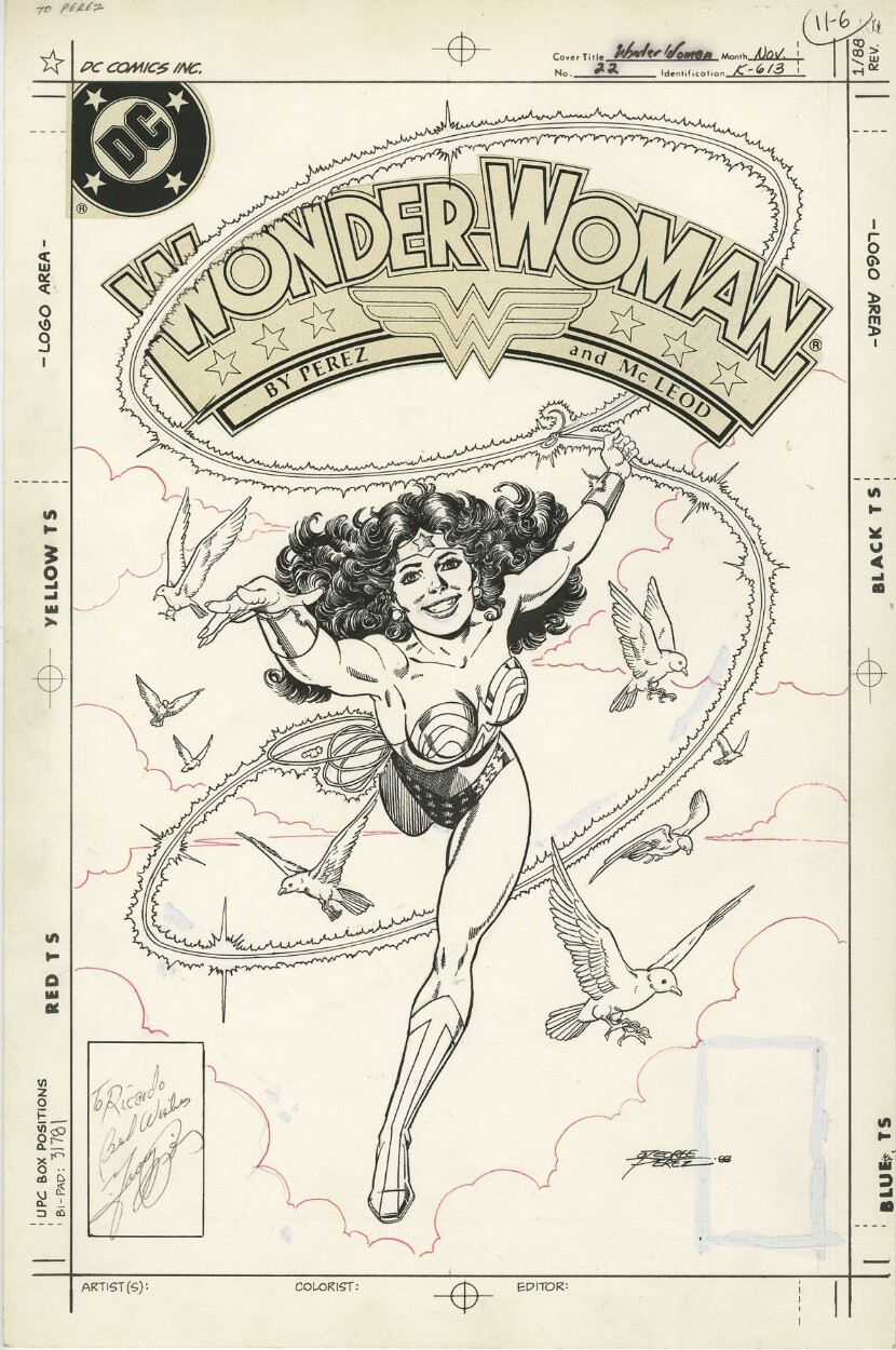 Original cover art by George Perez from Wonder Woman #22, 1988